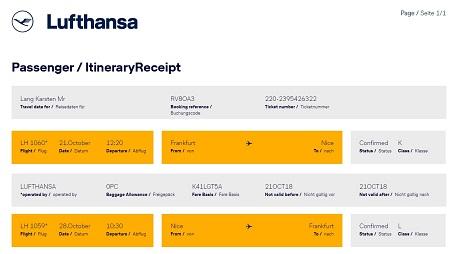 Buchungsbestätigung Lufthansa nach Antibes